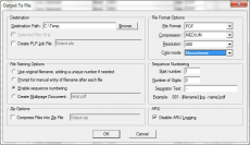 Screen capture of the Output to File dialog