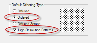 Default Dithering Type Settings